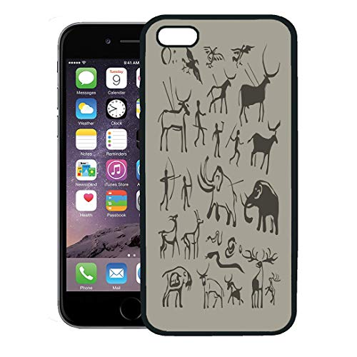 Semtomn Phone Case for iPhone 8 Plus case,Hunter Rock Painting Cave Man and Animals Anthropology Primitive Stone Age Ancient iPhone 7 Plus case Cover,Black -