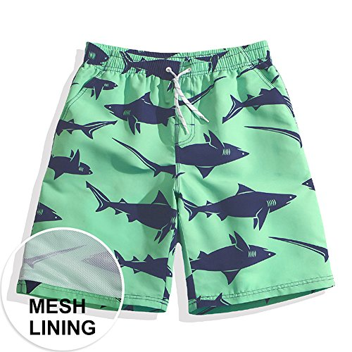 MaaMgic+Mens+Quick+Dry+Funny+Shark+Swim+Trunks+With+Mesh+Lining+Long
