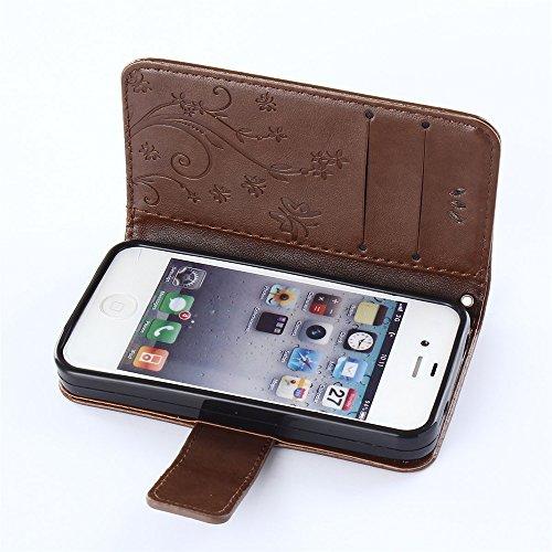 COOLKE Retro Mariposas Patrón PU Leather Wallet With Card Pouch Stand de protección Funda Carcasa Cuero Tapa Case Cover para Apple iPhone 4 4S - marrón café marrón