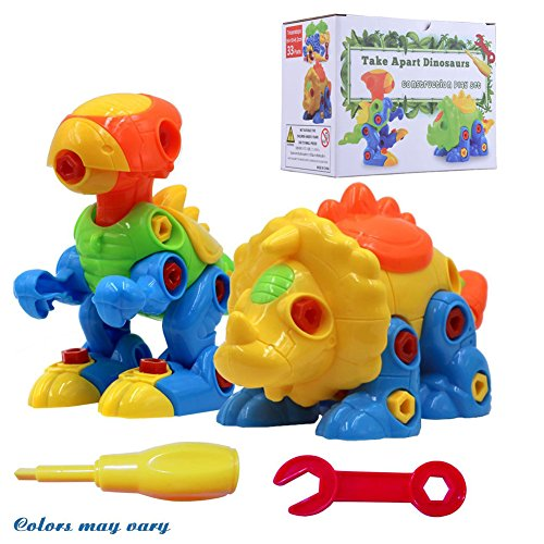 SUPRBIRD Take Apart Toys, Dinosaur Toys (70 Pieces), Construction Engineering STEM Learning Toy Building Construction Play Set, Best Toy Gift for Kids (Set of 2) (Colorful)