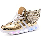 LED Light Up Shoes Running Shoes for Kids Boys Girls 4 Colors Flashing Wings Sneakers (4M Big Kid, Golden)
