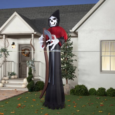 Gemmy Airblown Inflatable 12' X 4' Giant Grim Reaper Halloween Decoration