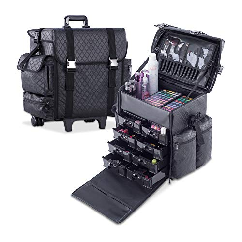 (KIOTA - Professional Beauty Makeup Artist Case on Wheels, Soft Cosmetic Case with Trolley and Storage Drawers, Side Compartments and Brush Holders, ULTIMATE Series - Black Diamond)
