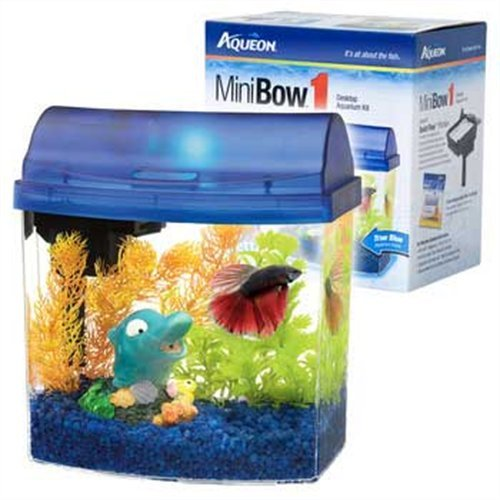 Aqueon Aqueon 01204 1-Gallon Mini Bow Aquarium Kit, Blue