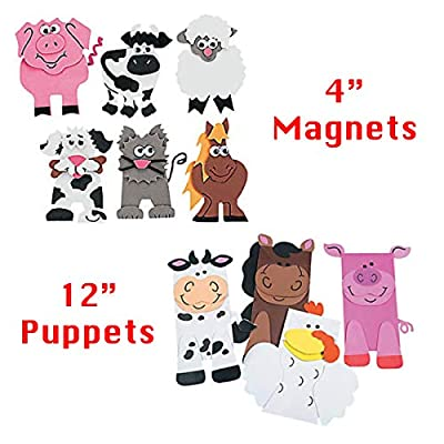 Farm Animal Arts and Crafts Bundle, 10 All-Inclusive DIY Barnyard Craft Projects for Kids - Homeschool, Daycare, Preschool, Early Learning Resources, Party Supplies - Toys and Novelty Educational Toys: Toys & Games