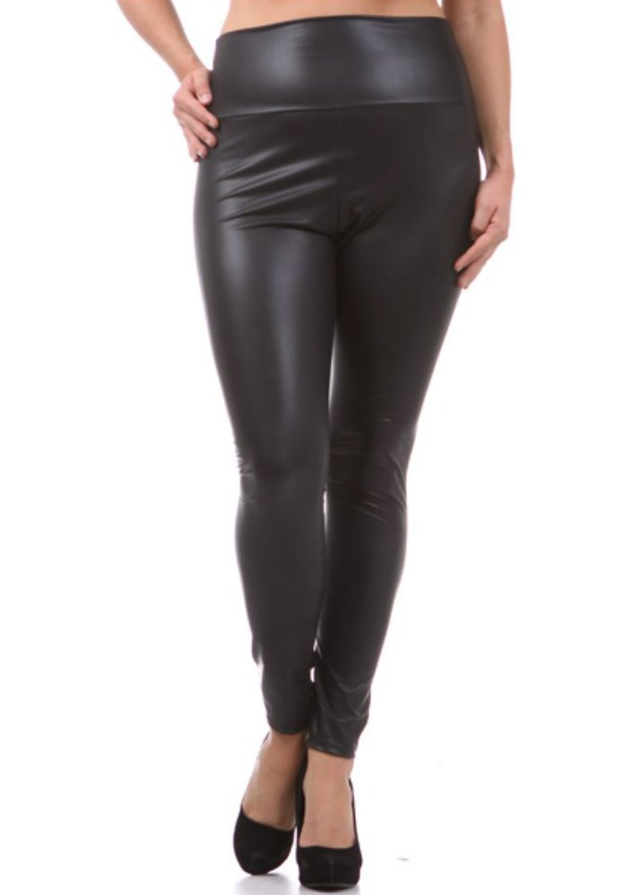 CurvyLuv Women's Plus Size Faux Leather High Waist Leggings Stretch Pants (Black, 1X)