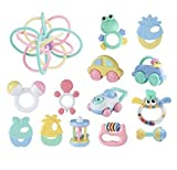 Teeth Biting Educational Toys Teether Hand Bell Toys Newborn Gift Set for Babies,12Pcsin Bottle+Ball