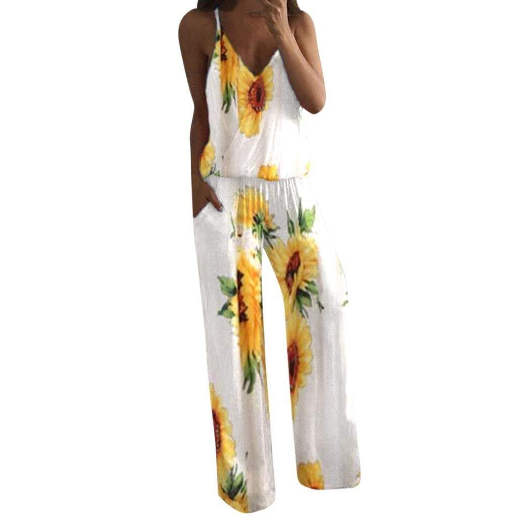 Go-First Womens Summer Stylish Sexy Sling Playsuit Lady Strappy Floral Sling Long Trouser Playsuits Jumpsuit Rompers (Color : White, Size : XL)