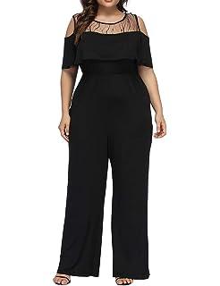 198780581fe94 Allegrace Women s Plus Size Lace Cold Shoulder Jumpsuit Flounce Sleeve Long  Rompers