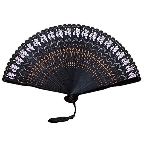 GWXLD Folding Fan,Wall Decoration British Chinese Carved Hollow Fan Ancient Wind Female Fan Bamboo Silk Protective Cover D