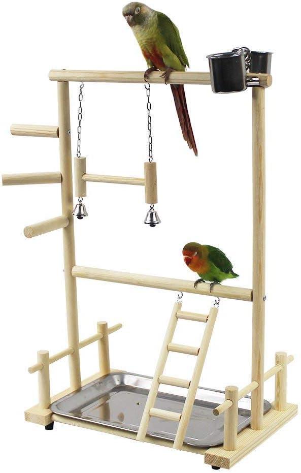 BSTiltion Aves Juego Stand Área de juego Pájaros parque de juegos de madera,incluye escalera / campana, juguete atlético para pequeños periquitos, cacatúas, aletas, periquitos, periquitos