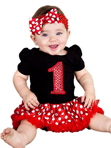 Petitebella Red Sequins 1st Black Bodysuit Red Polka Dots Baby Dress Nb-18m (12-18 Month)