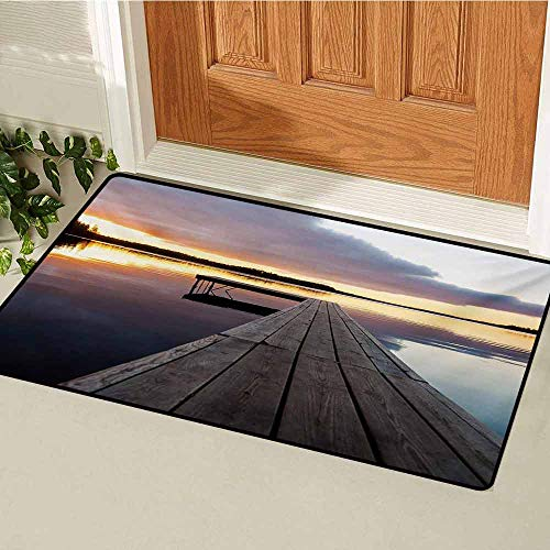 (GUUVOR Landscape Universal Door mat Serenity Relaxing Themed Port Pier Wooden Rustic Image of Dawn Sunset in Lake Art Door mat Floor Decoration W15.7 x L23.6 Inch Multicolor)