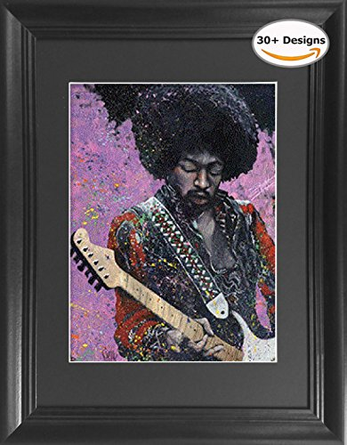 Jimi Hendrix Playing Guitar Framed 3D Lenticular Poster   14 5X18 5    Unbelievable Life Like 3D Art Pictures  Lenticular Posters  Cool Art Deco  Unique Wall Art Decor  With Dozens To Choose From