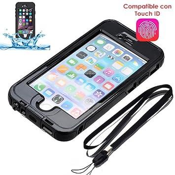 Donkeyphone Carcasa ACUATICA Negra Compatible con Lector DE Huellas para iPhone 7/8 Funda Sumergible Waterproof