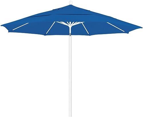 California Umbrella 11 Round Aluminum Fiberglass Umbrella, Pulley Lift, White Pole, Olefin Royal Blue Fabric
