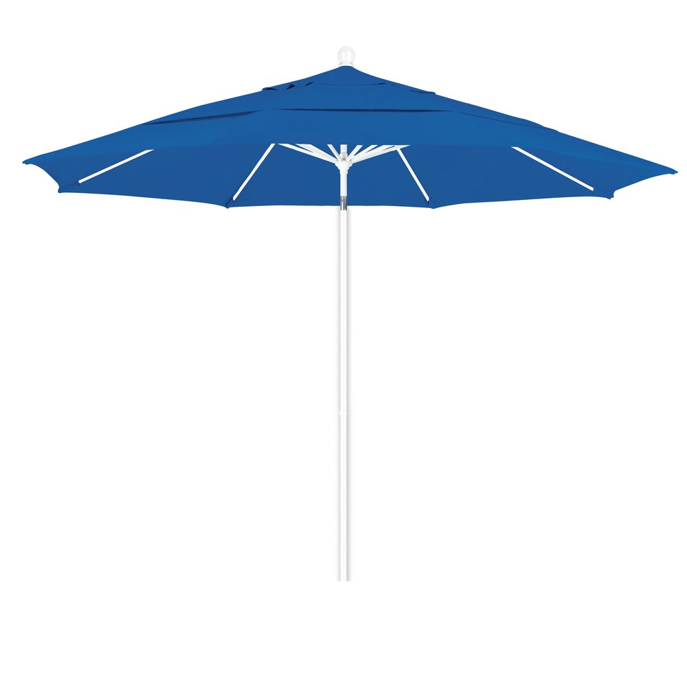 California Umbrella 11 Round Aluminum Fiberglass Umbrella, Pulley Lift, White Pole, Olefin Royal Blue Fabric