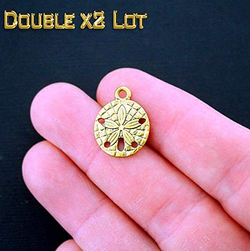 (Double x2 LOT of 8 Sand Dollar Charms 2 Sided Vintage Crafting Pendant Jewelry Making Supplies - DIY for Necklace Bracelet Accessories by CharmingSS)