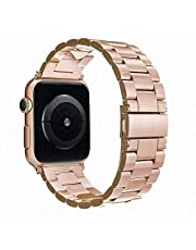 Simpeak Band Compatible with iWatch 38mm 40mm, Stainless Steel Wirstband Strap Replacement for iWatch Series 5 4 3 2 1, Orange Gold