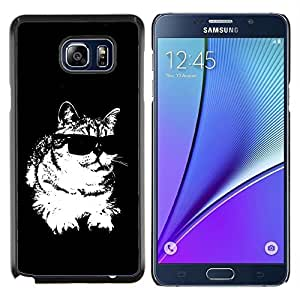 Caucho caso de Shell duro de la cubierta de accesorios de protección BY RAYDREAMMM - Samsung Galaxy Note 5 5th N9200 - Cat gafas de sol frescas Negro Blanco Felino