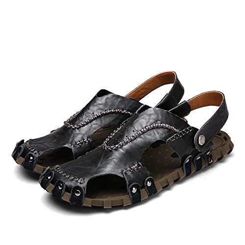 Xing Lin Flip Flop De La Playa Verano Nuevo MenS Hollow Sandalias Casual Masculino Baotou Exterior Antideslizante Artesanales Sandalias Zapatos De Hombre black
