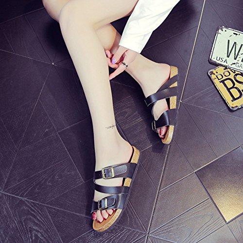 Mujer Sandalias del Verano Unisexo Romanas Zapatos de plataforma sandalias de moda plana cómodos zapatos de damas Negro
