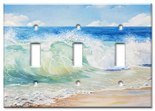 Art Plates Brand Triple Toggle Switch / Wall Plate - Beach Painting