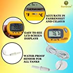 SunGrow Reptile Digital Thermometer, 2.3x1.5 Inches, Waterproof Sensor Probe Monitors Temperature Accurately, Easy to Read Display, Includes Replaceable Batteries, Yellow 10