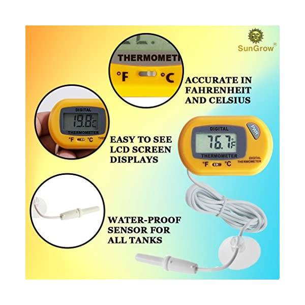 SunGrow Reptile Digital Thermometer, 2.3x1.5 Inches, Waterproof Sensor Probe Monitors Temperature Accurately, Easy to Read Display, Includes Replaceable Batteries, Yellow 3