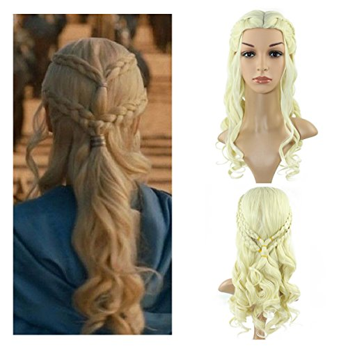 Fluffy Cosplay Wigs for Game of Thrones Daenerys Targaryen Blonde Curly Wig Long Wig Hair Curly Wave Hairs for (Comic Con Game Of Thrones Costumes)