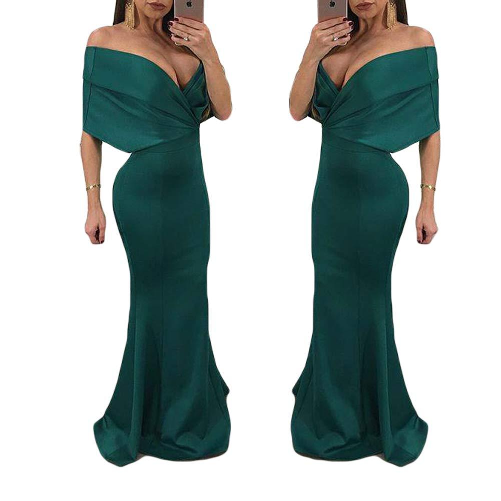 Green Dreagel Mermaid Off Shoulder VNeck Prom Dresses Long Satin Evening Gowns Formal Dress