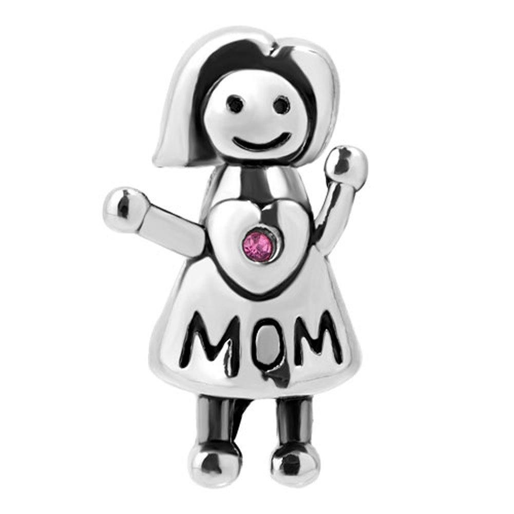 pap/à Ciondolo a motivo mamma Serie Happy Family adatto a braccialetti di tipo europeo ragazzo o ragazza Sug Jasmin