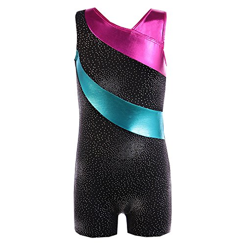 Girls One-Piece Gymnastics Tank Leotard Dance Clothes Ballet Tutu Costumes for Teen Girl Yamally (4-6 Years Old, Black)