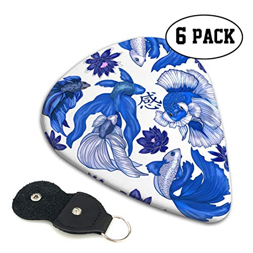Chinese Wind Fish Sense Of Big Character Ultra Light 0.46 Medium 0.71 Heavy 0.96mm Printed Round Flat Celluloid Jazz Electric Acoustic Bass Guitar Pick Ccessories Variety Pack Pocket