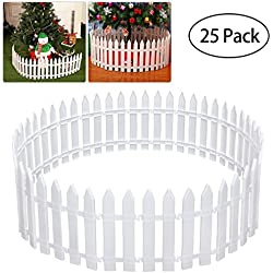 Tinksky White Plastic Picket Fence Miniature Home Garden Christmas Xmas Tree Wedding Party Decoration (25 Pieces)