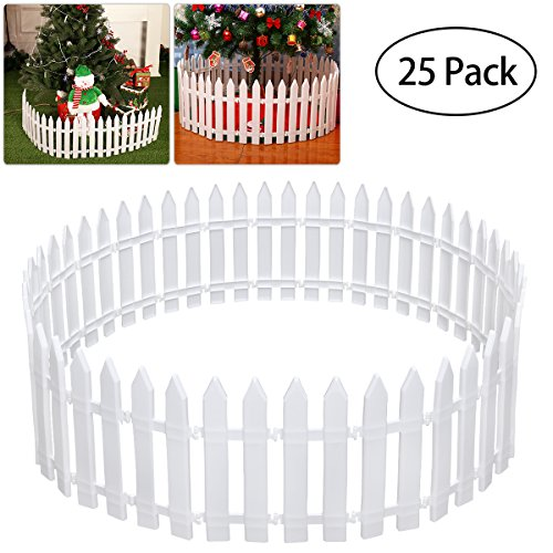 - Tinksky White Plastic Picket Fence Miniature Home Garden Christmas Xmas Tree Wedding Party Decoration (25 Pieces)