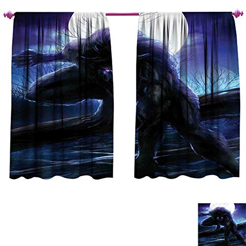 Fantasy World Window Curtain Fabric Surreal Werewolf with Electric Eyes in Full Moon Transformation Folkloric Drapes for Living Room W108 x L72 Purple Blue