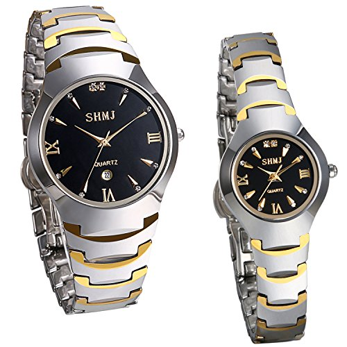 Couple Watch - JewelryWe Men's Womens Wrist Watch Tungsten Carbide Calendar Quartz His and Her Couple Watches