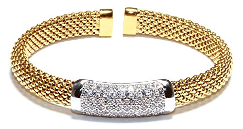 Expo Collection Sterling Silver Cubic Zirconia Bar Faceted Flexible Diamond-Cut Mesh Cuff Bracelet 6.25