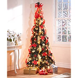 Fox Valley Traders 6 ft Christmas Spruce Prelit Poinsettia Pull Up Tree 66