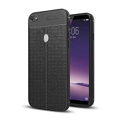 on sale eab13 6a87f Hupshy Vivo V7 Cover/Vivo V7 Soft Silicone TPU Flexible Leather Texture  Back Cover/Vivo V7 Back Case - Black (AF07)