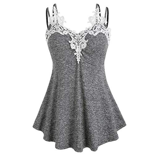 GREFER Plus Size Blouses Womens Fashion Applique Insert Sling Tank Tops Swing Tees T-Shirt Gray