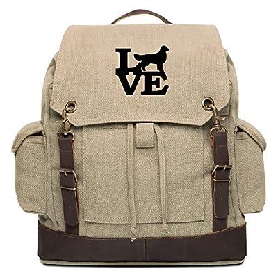 aaf130330c4d Love Golden Retriever Lab Dog Vintage Canvas Rucksack Backpack w ...