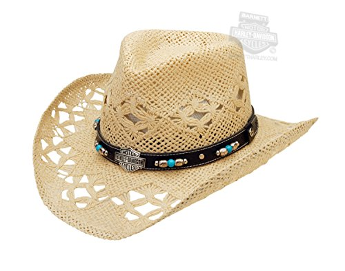 H-D Womens Fancy Beaded Black Band with B&S Patterned Natural Straw Hat - MD ()