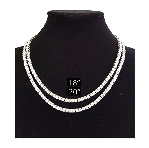 Single Row Chain - Shiny Jewelers USA MENS ICED OUT SINGLE 1 ROW SILVER CZ HIP HOP CHAIN 16