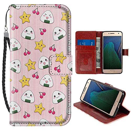 (Leather Case Fit for Motorola Moto G5 5-Inch Kids Cute Japanese Food Icons Rice Ball Cherries Asian Kawaii Anime Pattern Design Pink Multicolor Folio Case)