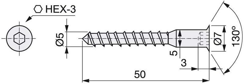 Lote de 500 tornillos autorroscantes Emuca D. 5 x 50 mm con cabeza ...