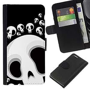 BearCase / Cuero de la tarjeta la carpeta del tirón Smartphone Slots Protección Holder /// Apple Iphone 5C /// Divertido cráneo Lol Cara