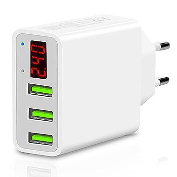 TTMOW Cargador USB de Pared con Pantalla LCD Visualización, Corriente Máxima De 2,4A por Cada Puerto (5V/3A), Compatible con iPhone, iPad, Samsung y ...