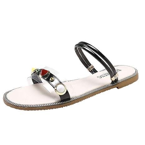 e3ff9193adab Copercn Women s Ladies Fashion Cool Transparent Acrylic Rivet Decoration  Thin HeelFlat Sandals One Band Open Toe